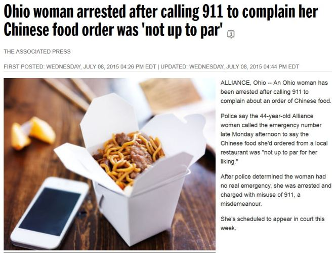 Ohio woman arested 011 complaint chinese food