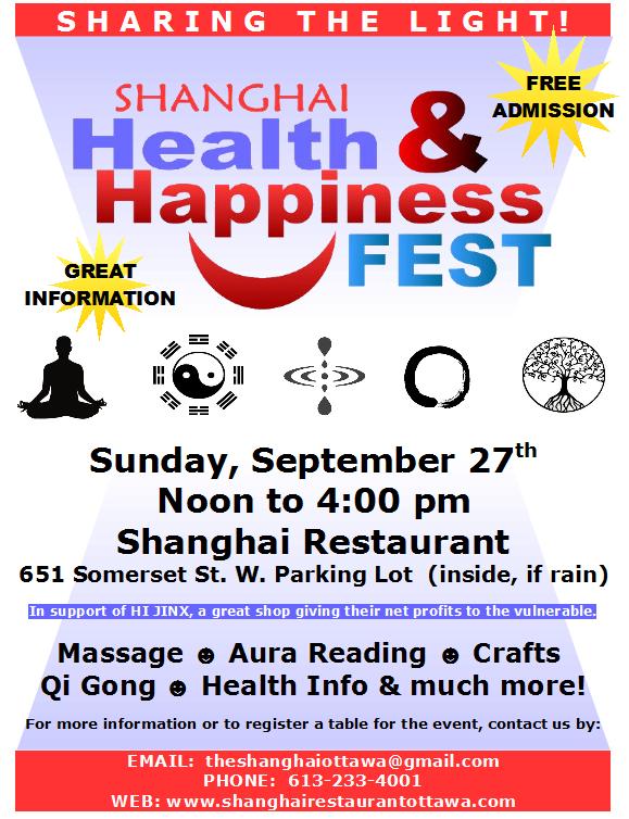 Shanghai's HEALTH & HAPPINESS FEST – Sunday, Sept  27, Noon