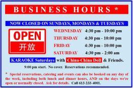 Closed SUNDAYS, MONDAYS & TUESDAYS
